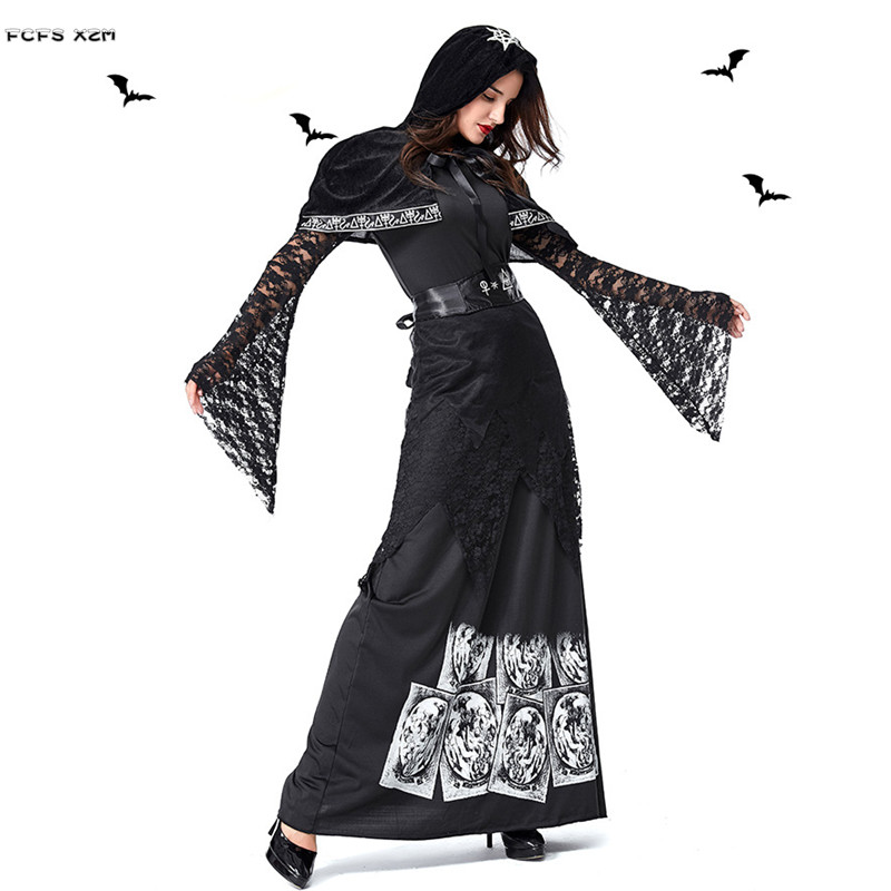 Women Halloween Evil Witch Costumes Female Gothic Skeleton
