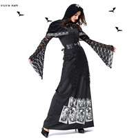 Women Halloween evil Witch Costumes Female Gothic Skeleton Sorceress Scary Cosplays Carnival Purim parade Masquerade party dress