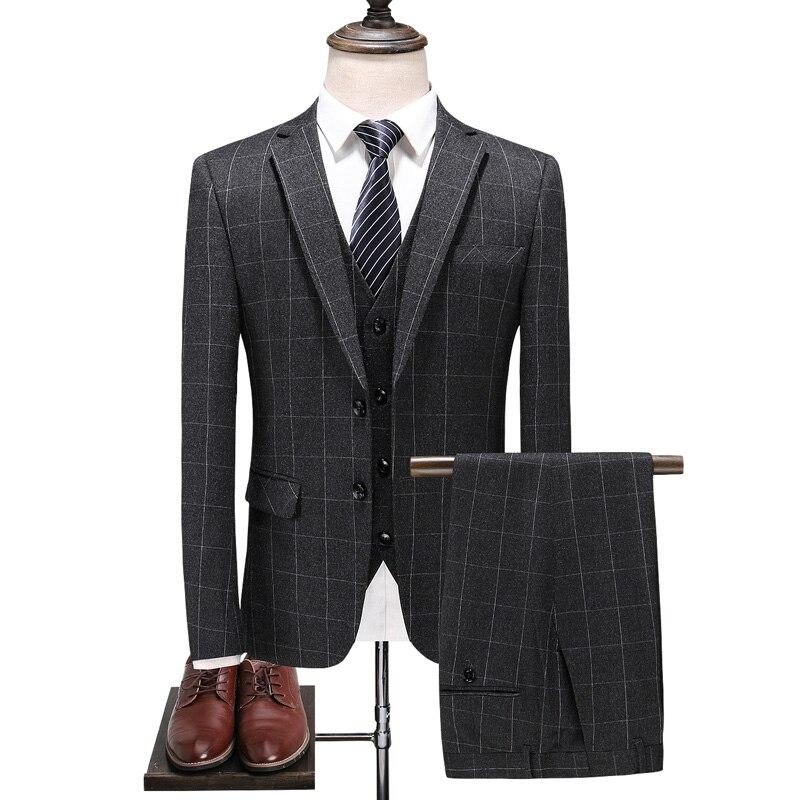 (Jacket+Vest+Pants) 2018 New Arrival Mens High Quality Fashion Casual Plaid Suit Men,men's Business Classic Suits Size S -3XL