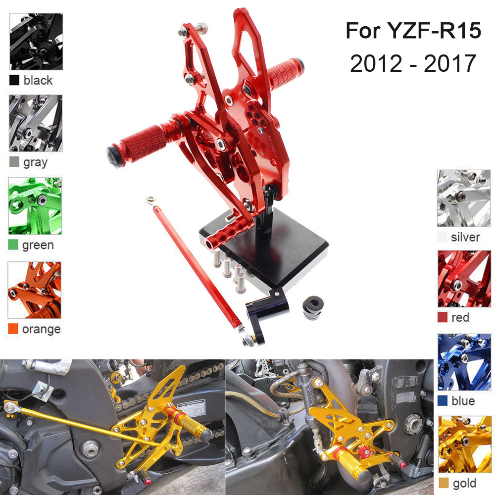 CNC Aluminum Adjustable Rearsets Foot Pegs For Yamaha YZF R15 YZF-R15 2012 2013 2014 2015 2016 2017
