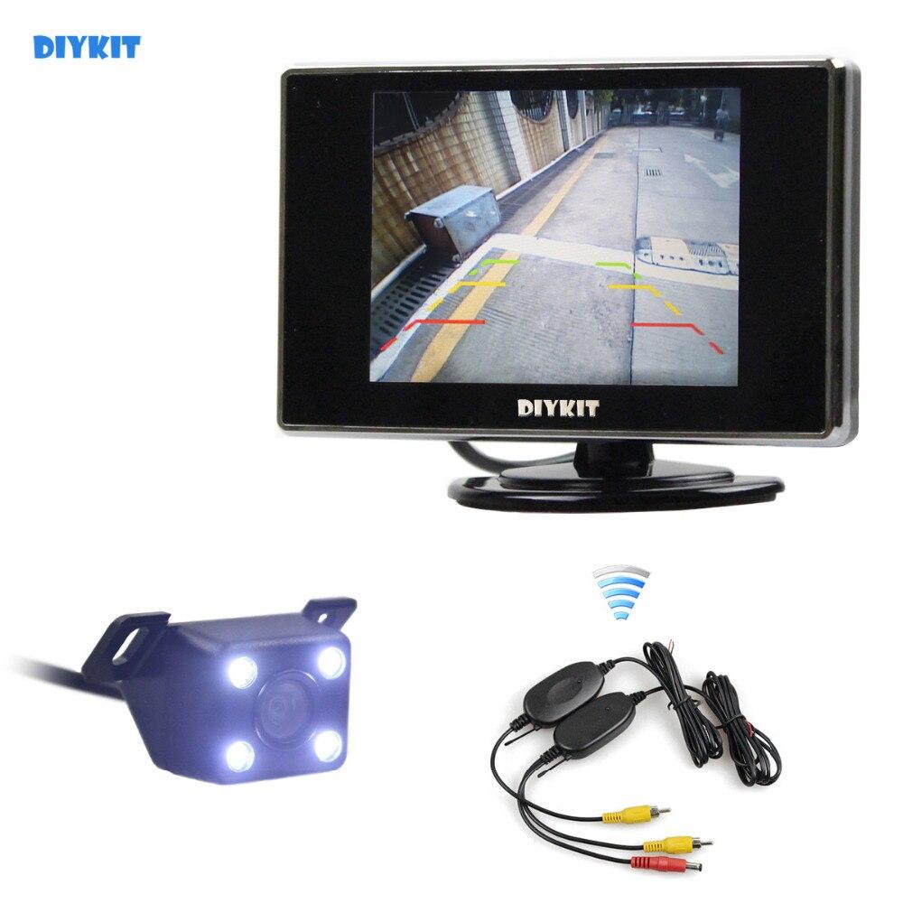DIYKIT LED Vision nocturne caméra de recul de voiture + moniteur de voiture de vue arrière de 3.5 pouces avec récepteur émetteur sans fil