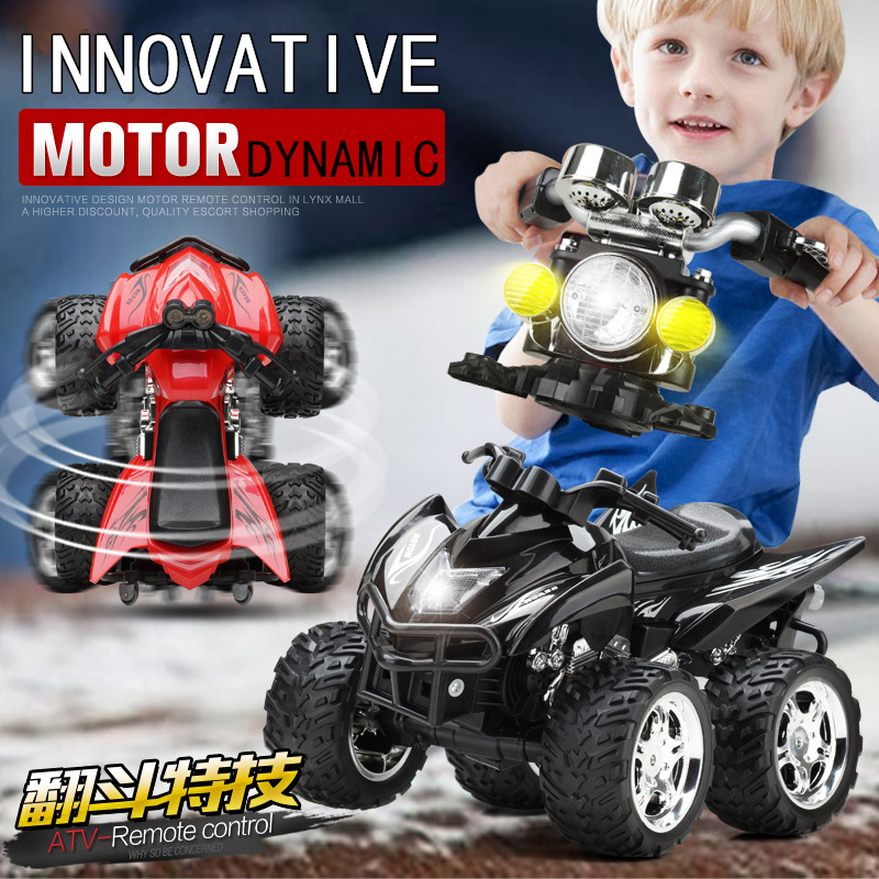 Newest design Hot sell RC Car A6 4D Remote Control Motorcycle Sandy Beach Cross Country 4WD Dynamic Motorcycles Kids Toy Vehicle hot sell a6 4d gravity induction rc remote control motorcycle electronic toy cars rechargeable drift dumpers promotional gifts