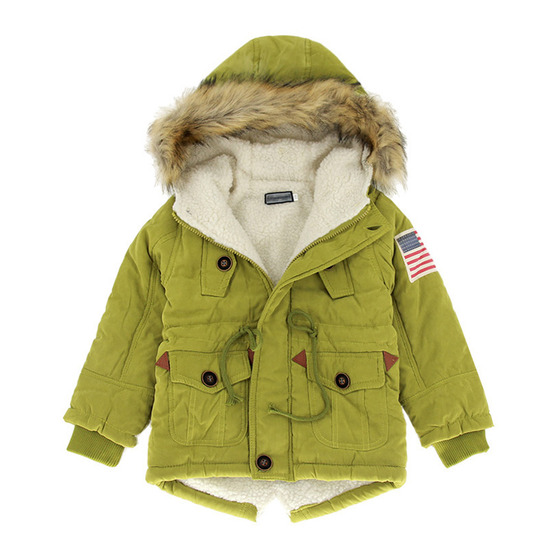 2017 Girls boys coats & jackets New 2-10T autumn winter boys USA flag hooded coat thick cotton warmer kids winter coat girls