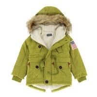 2017 Girls boys coats & jackets New 2 10T autumn winter boys USA flag hooded coat thick cotton warmer kids winter coat girls