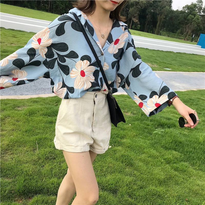 Women V-neck Flower Printed Loose   Blouses   Elegant Ladies Batwing Long Sleeve Fashion Casual Vacation   Shirt   2019 New