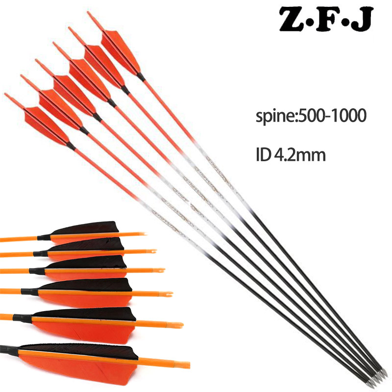 6 12pcs Spine 500 600 700 800 900 1000 30inch Carbon Arrows ID4 2mm 4inch Turkey