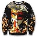 New Men/women 3d sweatshirt print golden mask actor golden flowers hoodies slim Sudaderas