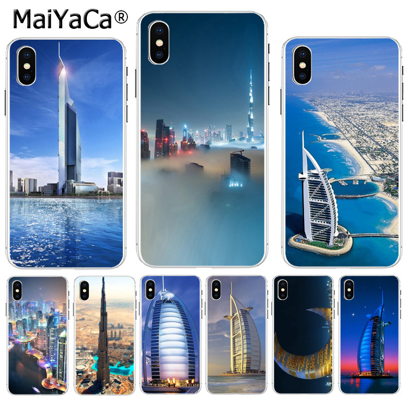 MaiYaCa Dubai City Architectural landscape Original Phone case cover for  Apple iPhone 8 7 6 6S Plus X XS max 5 5S SE XR Cover-in Half-wrapped Case