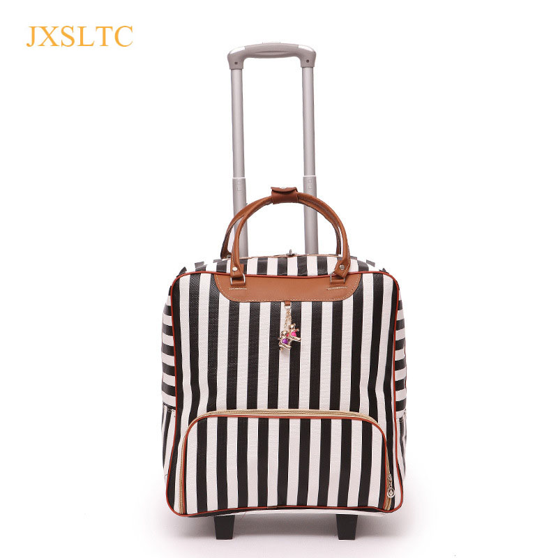 Rolling Suitcase Fashion Waterproof Luggage Bag stripes Roll