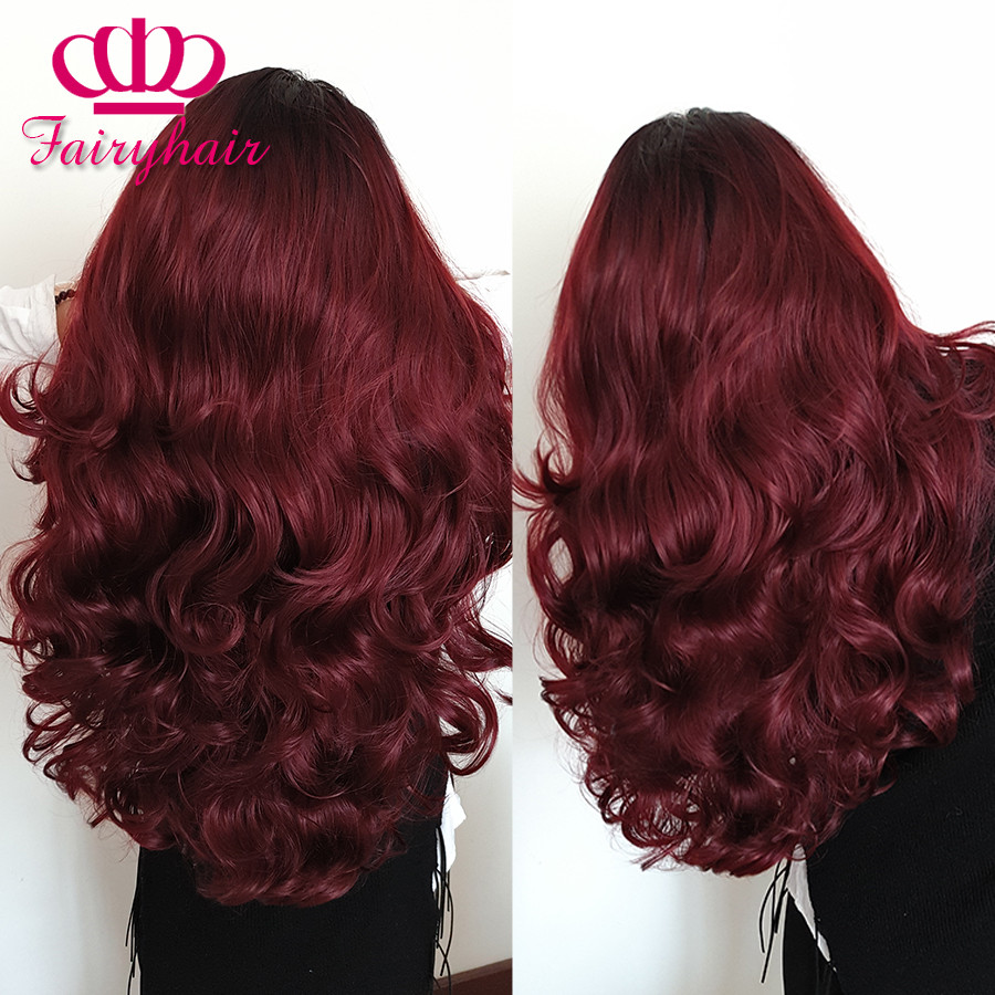 High Quality Ombre lace front wig burgundy ombre glueless body wave heat resistant synthetic lace front wig for black women wig1