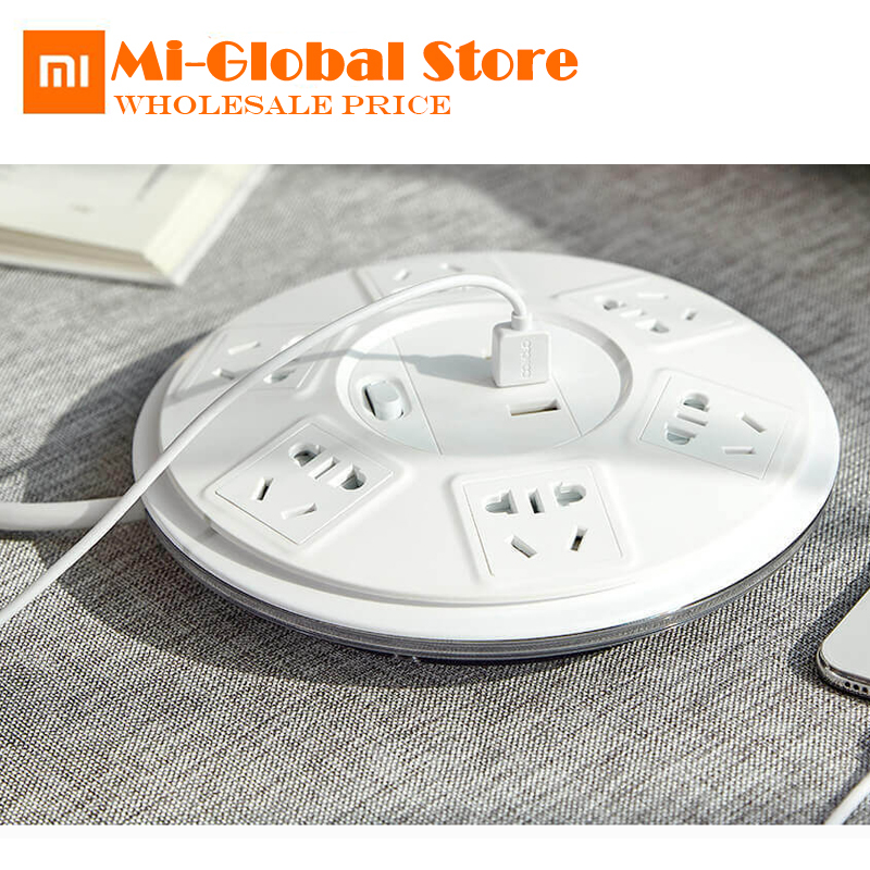 цена на Original Xiaomi 6 Ports with 3 USB Power Strip Power Plug Charger Socket US UK EU AU (5V=2.1A Single) two versions high quality