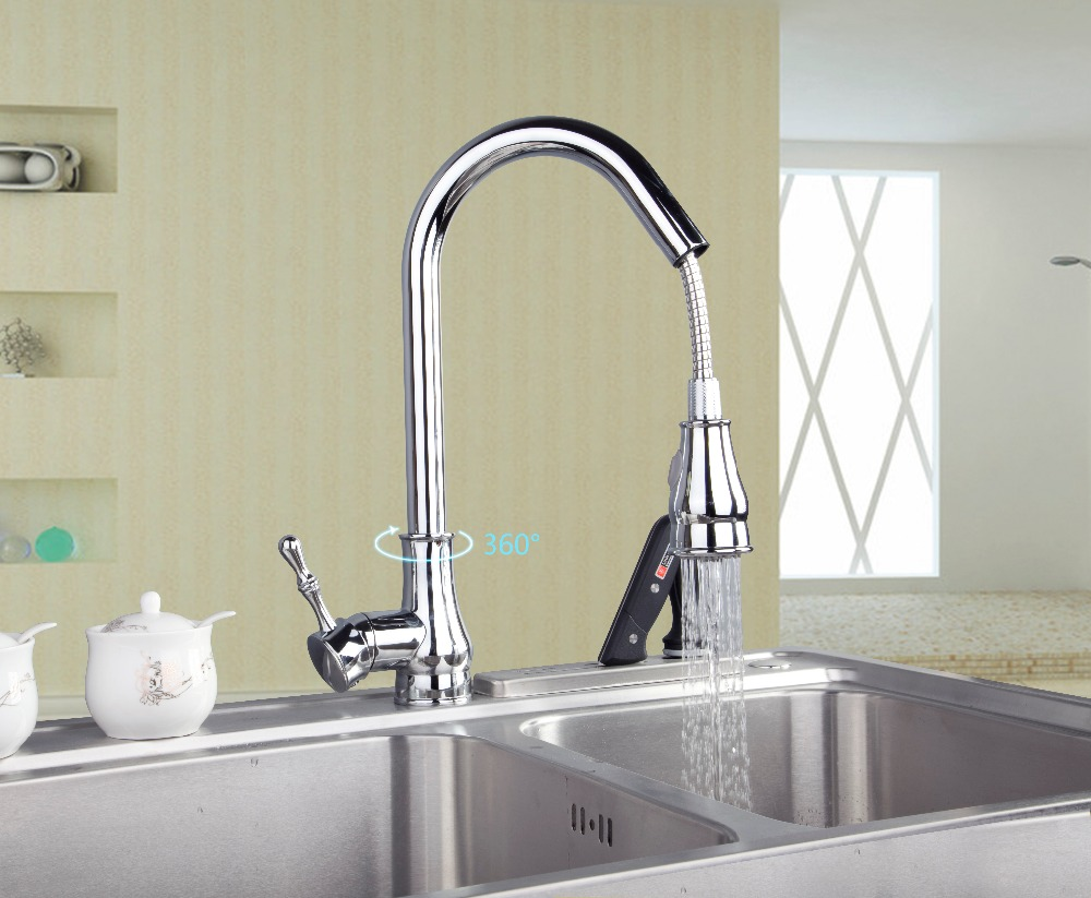 OUBONI Pull out Spray Kitchen Faucet Deck Mounted Swivel Mixer Tap 8090 Hot & Cold Water Mixer torneira durable kitchen faucet pull out deck mounted pull swivel 360 degree rotating cold and hot water tap torneira dourada mixer tap