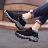 Mulheres das Sapatilhas de Inverno 2019 sapatos Novos Chegada de Passeio Cunhas Sapatos de Plataforma Mulher Pele Quente Sapatos Casuais Senhoras Botas Plus Size 35 -42