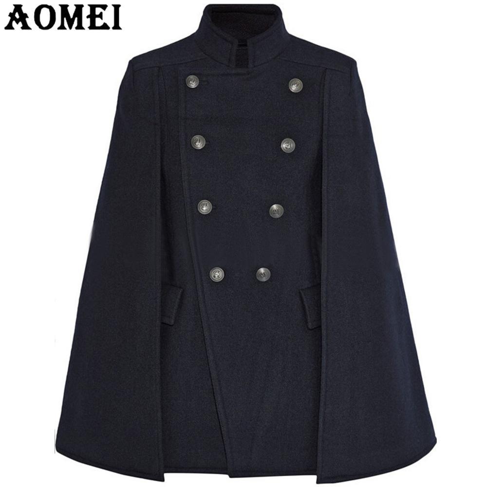 Модное женское синее шерстяное пальто, плащ, темно-синяя рабочая одежда, зимняя Офисная Женская верхняя одежда с двумя пуговицами, новинка, осеннее пальто, накидка - Цвет: Navy Blue