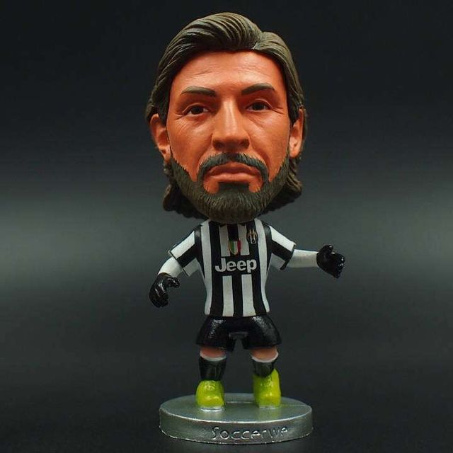 2014-15 Season 6.5*3.5 cm Resin Soccer Star 21 Andrea Pirlo Doll Black White Juv