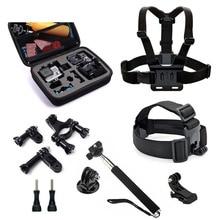 9 in 1 Kits Storage Bag Chest Strap Bicycle Bracket Monopod Gopro Accessories set for SJCAM SJ4000 SJ5000 M10 Xiaomi Yi 4K h9