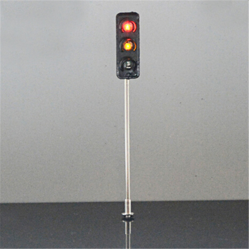 Metal Traffic Signal Pedestrian Crossing LED Light Model 3V Train Railway Architecture Diorama Scenery Layout 6cm Learning Toy