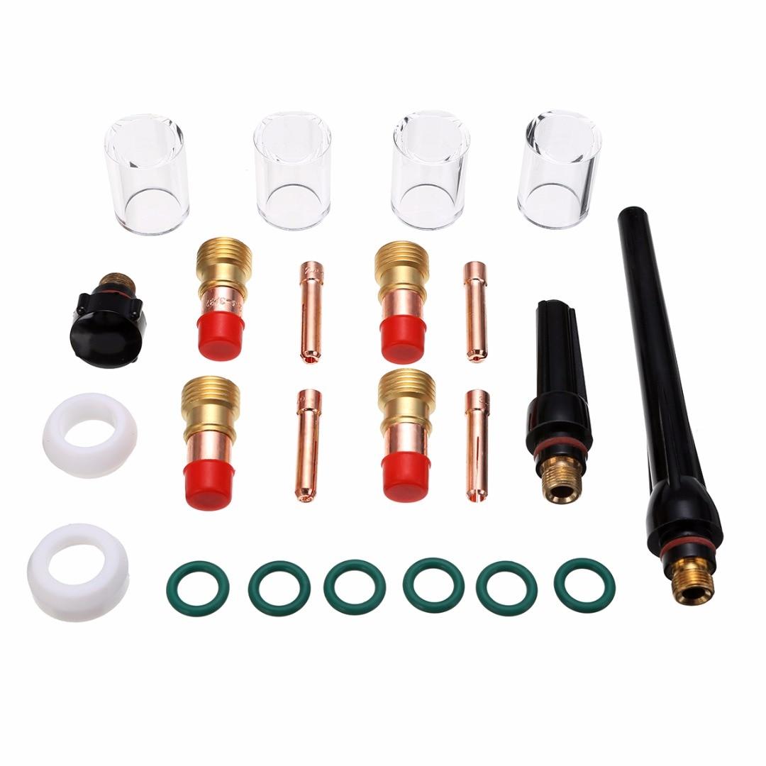 "28 pcs TIG Welding Stubby Gas Lens #10 Pyrex Cup Kit  WP-17//18//26 Torch  .040/"""