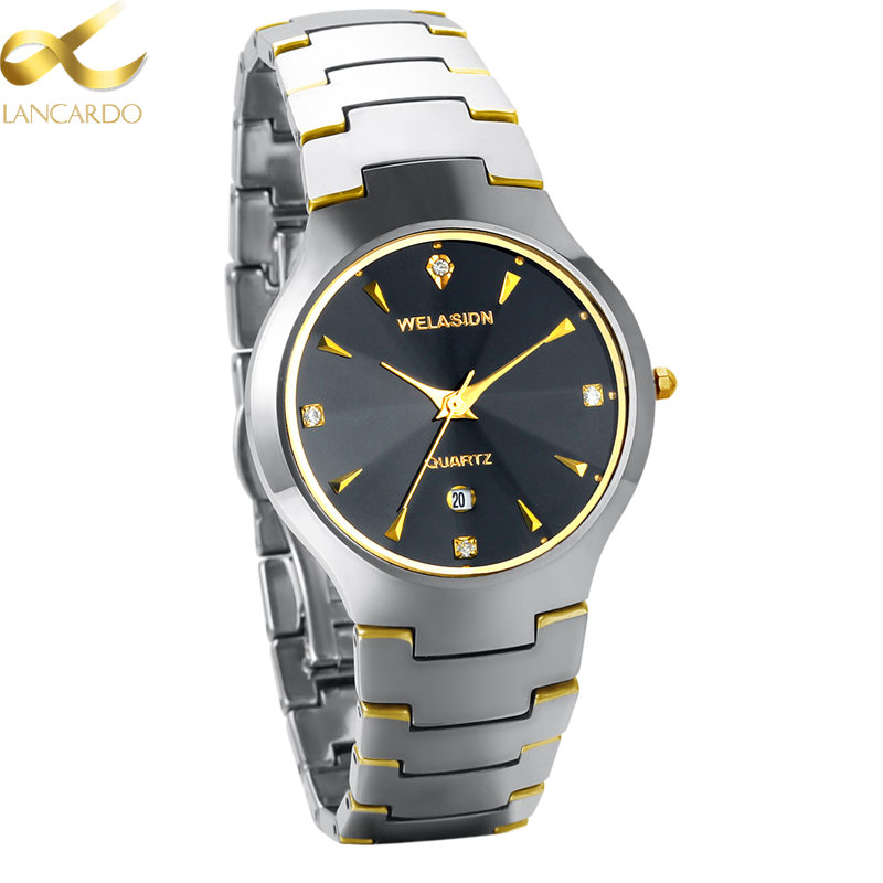 Gold Men's Watch Luxury Famous Brand Lancardo Tungsten Steel Wrist Quartz Watches Men Luminous Wristwatches Relogio Masculino new lancardo luxury brand men gold watches men quartz watch stainless steel men fashion casual wrist watch relogio masculino