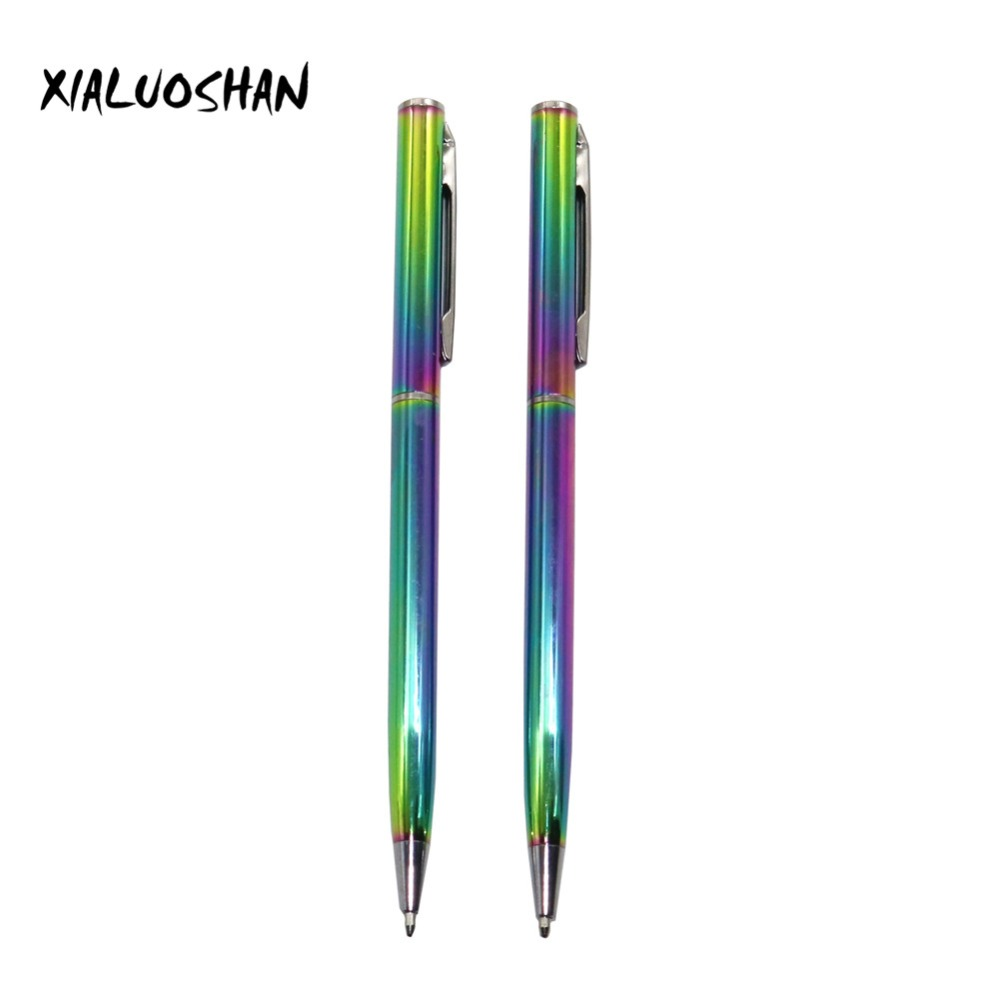 2pcs/set Colorful Rainbow Ballpoint Pen Stainless Steel Metal Stationery Lightweight Portable Writing Supplies