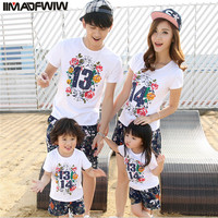 IIMADFWIW 2017 Summer Family Matching Outfits Summer Family Clothing Set Family Look Family Matching Clothes