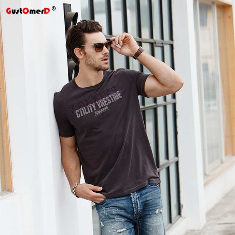 GustOmerD New Men Brand   T     shirts   Fashion Short Sleeve Slim Fit   T     shirts   Men Letter Printing Tops Men Cotton   T     shirt