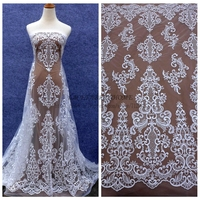 1yard Ivory Large Pattern Wedding Dress Lace Fabric Mesh Clear Sequins Embroidered Off White Brides Fabric