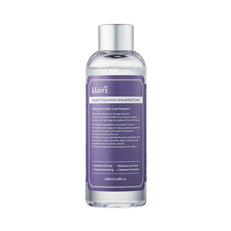 Best Korea Cosmetics KLAIRS Supple Preparation Unscented Toner 180ml Face Skin Care Smooth Moist Facial Tone Oil-Control