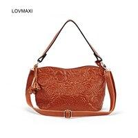 Lovmaxi مضمون 100% ٪ حقائب جلدية المرأة الأزهار تنقش يد طلى عبر الجسم حقيبة كتف حمل أزياء السيدات
