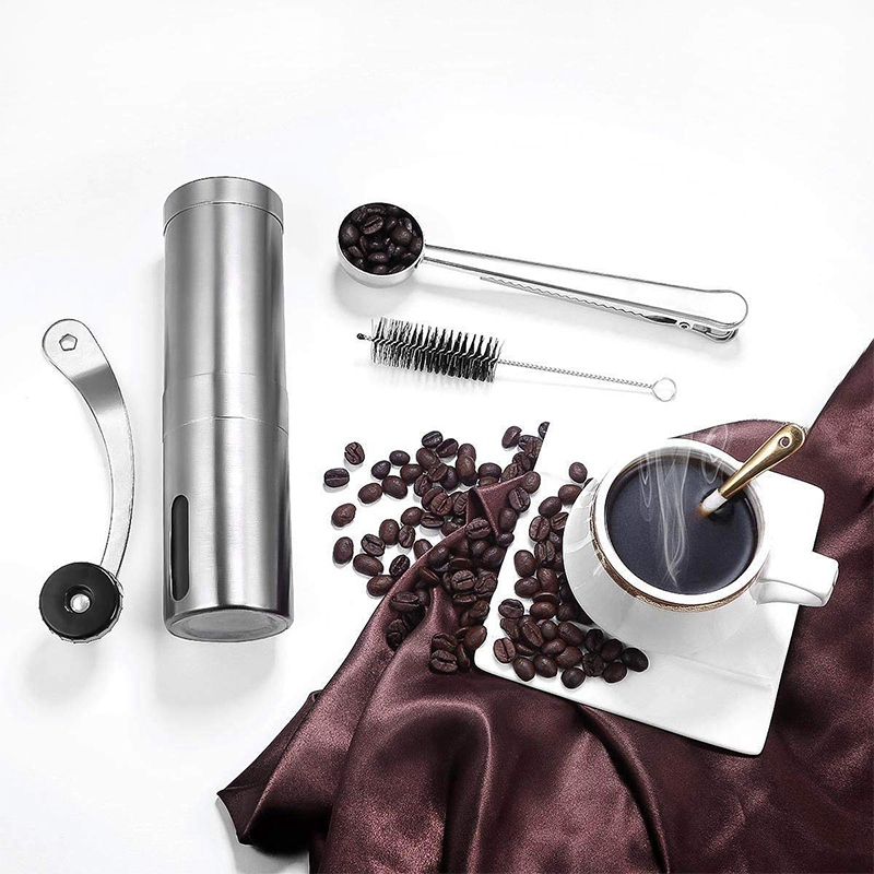 Manual Coffee Grinder,Adjustable Conical Burr Brushed Stainless Steel Coffee Beans Manual Grinder Portable Travel And Hand