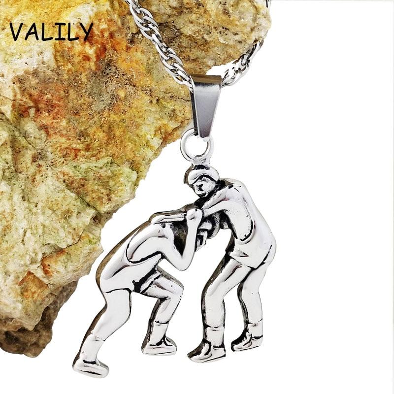 მამაკაცის ოქროს / ვერცხლის ფერი ორი კაცი ჭიდაობის დიზაინი გულსაკიდი ყელსაბამი, უჟანგავი ფოლადის მოდის ჯაჭვის ყელსაბამი ქალთა მძლეოსნობისთვის