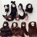 Juguete de los niños de alta calidad de la muñeca cabeza con negro marrón DIY accesorios para el cabello para Barbie Doll para 1/6 casa de muñecas BJD