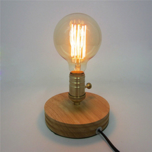 Фотография New Personality Creative Small Table lamp E27 AC85-260V Solid Wood Retro bedroom bedside Retro Simple Table light