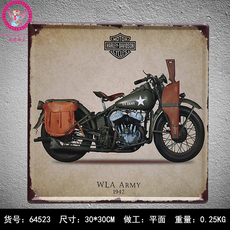 Metal Signs For Home Decor: 30X30CM Military Motorcycles Vintage Home Decor Tin Sign