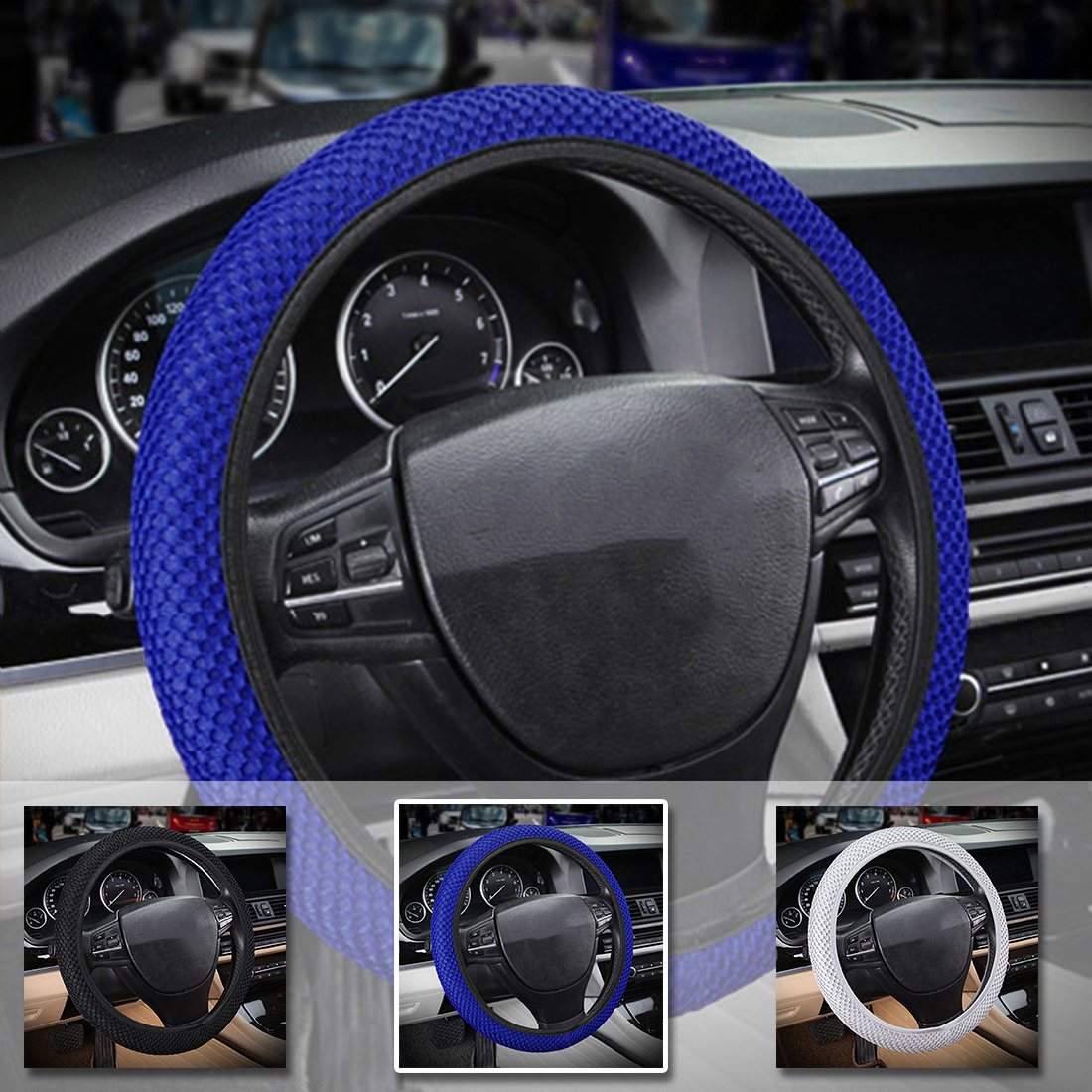 Dewtreetali Universal Car Steering Wheel Cover Breathable Sandwich Fabric Steering Wheel Protector Auto Decoration Car Styling ice silk 38cm universal car steering wheel cover breathable car styling sport auto steering wheel covers automotive accessories