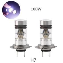 2 Unids/lote 2X H7 100 W Del Coche de Alta Potencia LED de la Niebla Luz de Conducción de la Cola Bombilla 6000-6500 K 1800LM Reemplazo de la Lámpara de La Niebla del coche Blanco