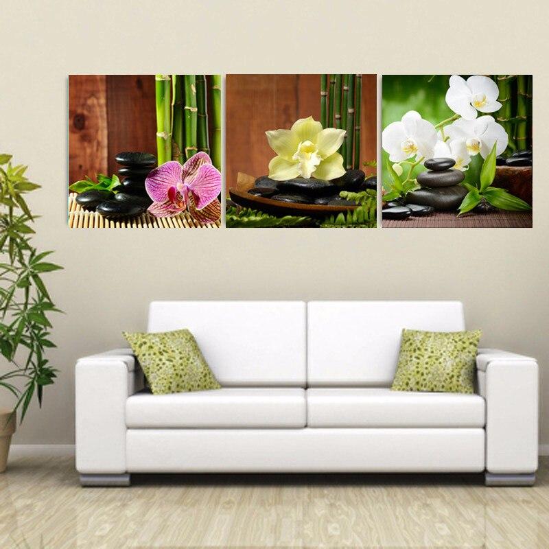 ₩Sin marco abstracto moderno Wall Art pintura piedra flores lienzo ...