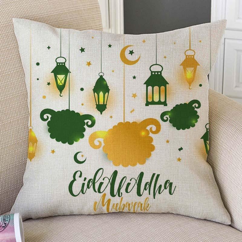 Eid Mubarak Cartoon Lantaarn Islamitische Arabische Moskee Achtergrond Sofa Kussenhoes Woondecoratie Katoen Linnen Moslim Kussensloop Modieuze (In) Stijl;