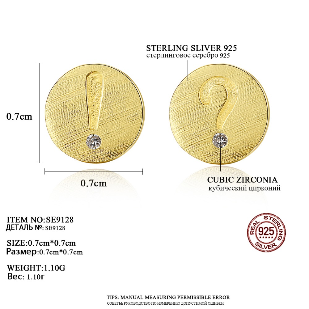 Luoteemi 2018 New Cute 925 Sterling Silver Symbols Stud Earrings For