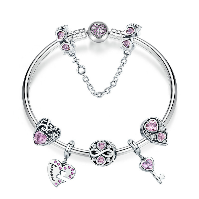 100% 925 Sterling Silver Romantic Love Pink CZ Infinity Girlfriend Bracelets & Bangles for Women Silver Jewelry SCB811 925 sterling silver infinity bracelets