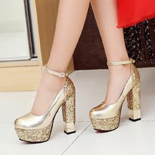 2019 new high quality large size bling high heel women's shoes high heel sexy party wedding bride shoes woman(China)