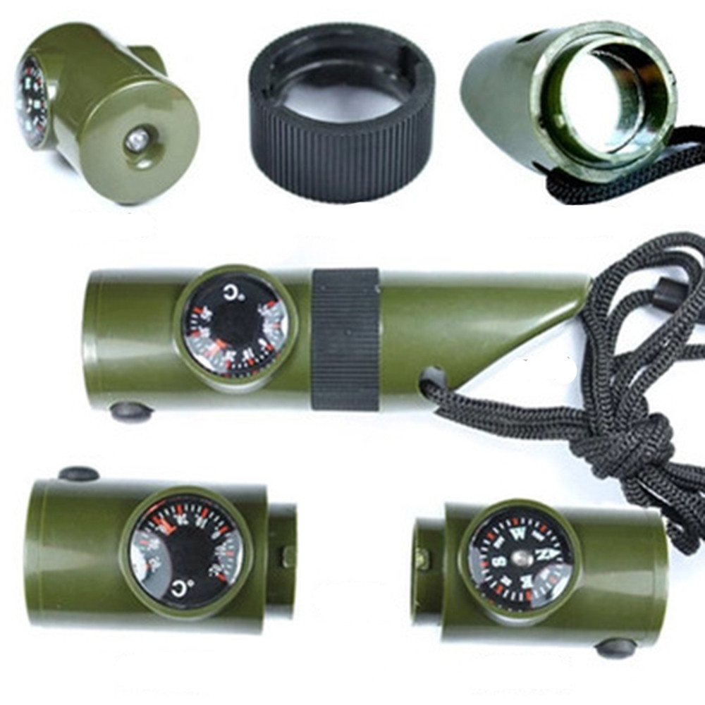 Новый 7 в 1 Многофункциональный поле выживания Свистки Компасы термометр светодиодный фонарик Лупа для наружного охоты кемпинг ZK