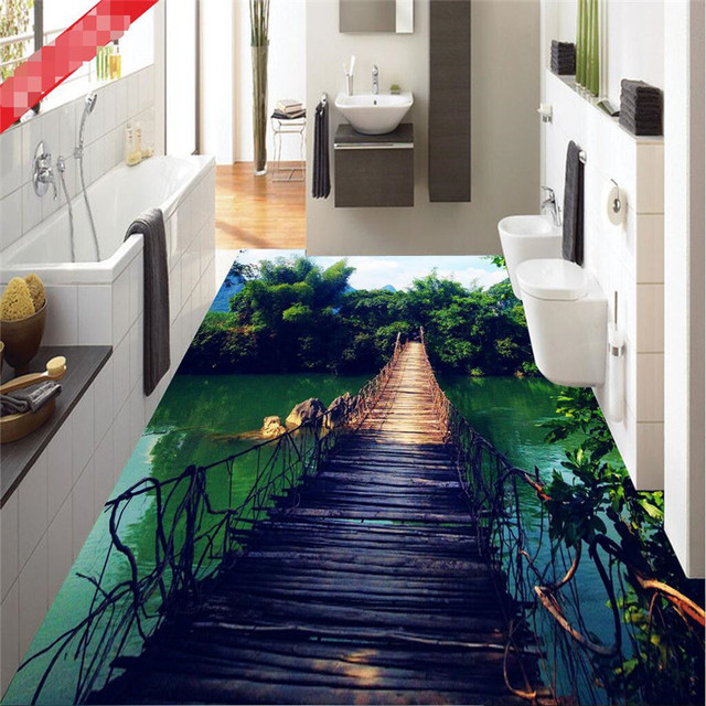bathroom floor 3d art photo floor wallpaper hanging wooden bridge forest 15850