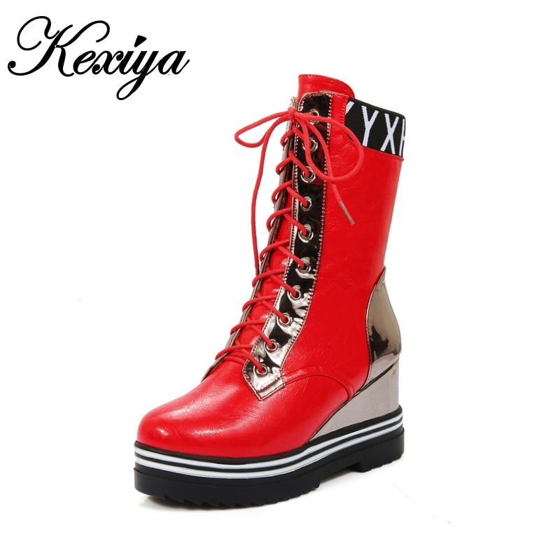 0820e6520031a 2016 أزياء الشتاء النساء قصيرة الأحذية جولة تو منصة أسافين عالية الكعب حجم  كبير 34-43 مختلط الألوان الدانتيل متابعة منتصف العجل أحذية