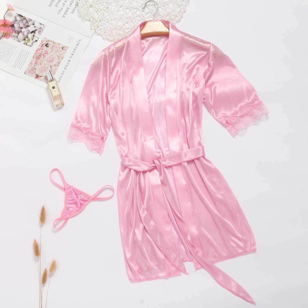 女性のセクシーなバスローブ結婚式春夏ネグリジェローブシルクレースプラスサイズ Wimen ため睡眠ビーチスパナイトパジャマ