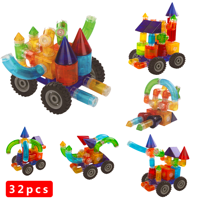 32pcs Magnet Toy 2016 New Magnetic Pipe Building Block Children DIY Educational Construction Enlighten Baby Toys Creative Bricks