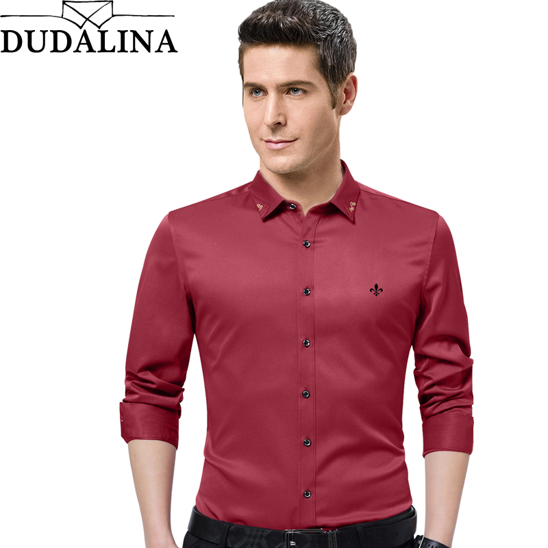 Dudalina 2020 New Male Men Shirts Male Long Sleeved Solid Color Cotton Slim Fit Men's Social Business High Quality Casual Shirt