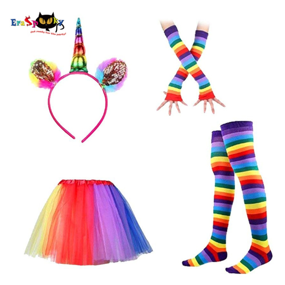80s Retro Rainbow Unicorn Tutu Skirt Girl Halloween Costume Women Festival Fancy Dance Dress Kids Carnival Party DCostume Set
