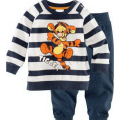 New 2017 Spring Children Kids Long Sleeve Tiger Clothing Set For Baby Boy Girls Stripe Cartoon Cotton Clothes Sets CC170-CGR3