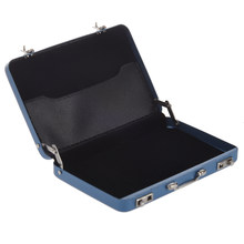 Aluminum password box Card Case Mini suitcase Password briefcase Blue(China)